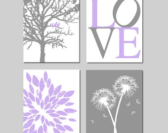 Lavender Purple Gray Baby Girl Nursery Art Quad -  Birds in a Tree, LOVE, Abstract Floral, Dandelions - Set of Four 8x10 Prints