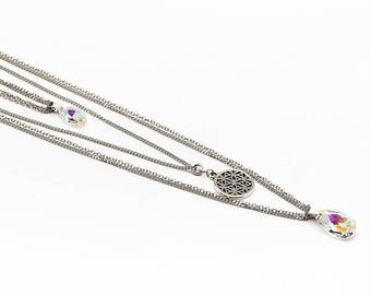 Necklace 3 tier - Swarovski Crystal - stainless steel - LILY