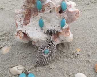 Turquoise Leaf Pendant accented with silver
