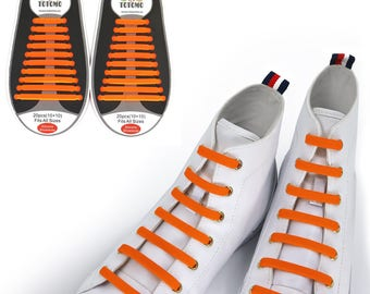 TOTOMO Orange No Tie Elastic Silicone Shoelaces for both Kids & Adults Tieless Shoe Laces