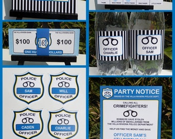 Police Theme Party Invitations & Decorations - full Printable Package - INSTANT DOWNLOAD with EDITABLE text - you personalize at home