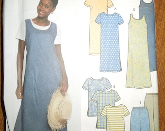 Simplicity 9754, sizes 8-14, dress, tunic, top, jumper and pants, shorts, misses, womens, UNCUT sewing pattern, craft supplies