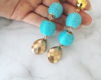 Turquoise and Gold Clip-on Earrings