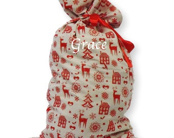Luxury Personalised Printed Christmas Nordic Jumbo Luxury Calcio Santa Sack