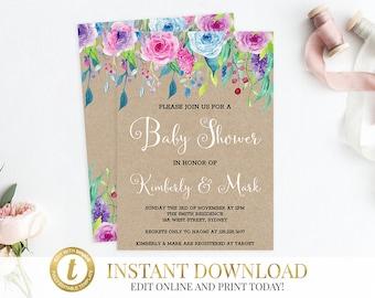 Baby Shower Invitation, Baby Shower Invite, Girl Baby Shower Invitation, Shower Invitation, Invite, Baby Girl Shower, Printable Invitation.