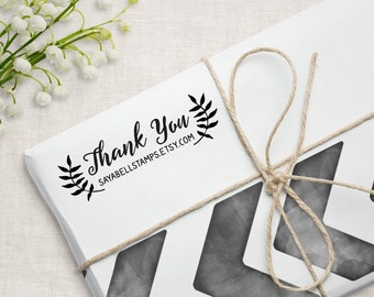 Custom Business Thank You Stamp, Personalized Packaging Stamp, Small Business Stamp. 3x1 Inches B8