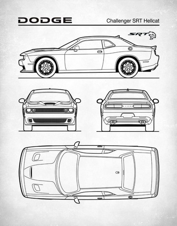Dodge challenger hellcat blueprint auto art patent print like this item malvernweather Images