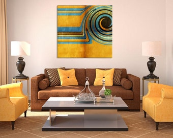 SAND AND SEA 2 contemporary abstract print, digital painting wall decor, gold blue black