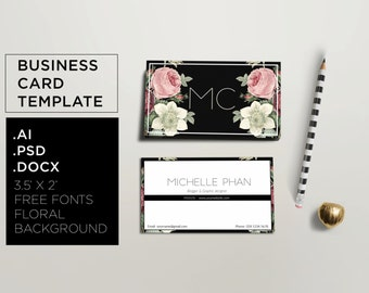 Elegant business card template ( floral theme ) / modern business card / creative business card / modern calling card / stationery design