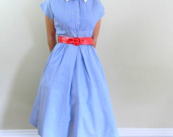 1950s Dress ... Vintage 50s Day Dress ..  Full Skirt Shirtwaist  with Tuxedo Pleats in Chambray  Blue ...Size Small to Medium