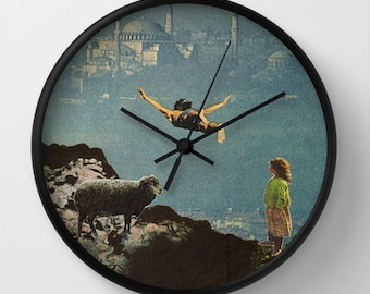 Wall clock for dreamers - Collage art - yet another leap of faith - surreal home decor for the brave and fearless