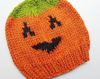 Baby Pumpkin Hat - Baby Halloween Costume - Toddler Jack-o-Lantern Outfit - Halloween Hat - Baby's First Halloween - Knit Pumpkin Hat