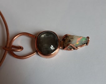school of mysteries  - black moonstone & welo opal pendant with recycled copper - handmade - copper jewelry