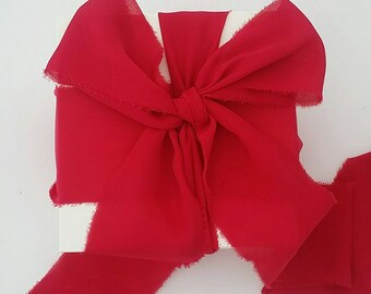 "Red Ribbon. 1.5"" Wide Luxury Ribbon. Wedding Bouquet Ribbons. Hand Torn Frayed Georgette Ribbon Bundle. 3 Mtrs Cherry Red Christmas wrapping"