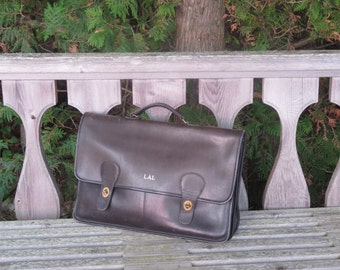 Dads Grads Sale NYC Coach Briefbag Black Leather Multi Gusseted Briefcase Attache Laptop IPad Carrier- Rare in VGC