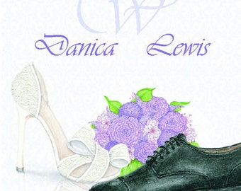 Wedding Personalized Note Cards Stationery Thank You Cards Bride Groom Thank You Cards Bridal Shoes Mens Wedding shoe