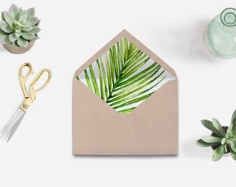 Envelope liner printable, watercolor envelope liner, tropical envelope liner printable, palm leaves envelope liner, The Aura collection