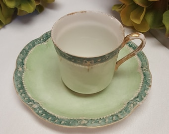 ANTIQUE Haviland Limoges Co., Demitasse Cup and Saucer from 1880's FRANCE, Victorian Era, Green Gold, Scallop Rim, Decor Dining Bridal