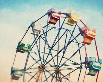 Ferris Wheel Photography, Ferris Wheel Art, Ferris Wheel Print, Carnival Nursery Art, Nursery Decor, Carnival Print, Fine Art Photography