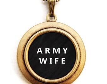 ARMY WIFE Locket - Military Wife Word Wear Locket Necklace