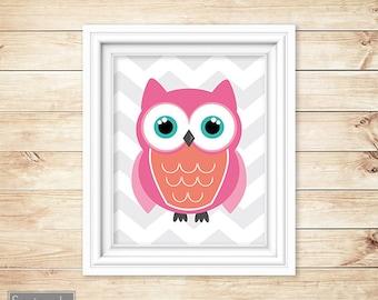 Coral Pink Owl Nursery Wall Art Grey Chevron Decor  Playroom Girl's Room Printable 8x10 Digital JPG Instant Download (19-2)