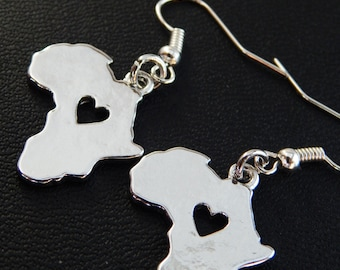 Africa Earrings African Jewelry Silver Africa Earrings Afrocentric Jewelry Dangle Shape Africa Map Cute