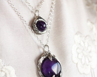 Witch jewelry gothic jewelry amethyst necklace black onyx jewelry gift for her sterling silver necklace under 50 unisex pendant crystals