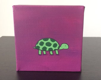 """Turtle, 4""""x4"""" acrylic painting on canvas, green turtle over a purple background"""
