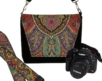 SET Dslr Camera Bag and Dslr Camera Strap, Camera Bag Slr and Camera Neck Strap, Bohemian Paisley boho MTO