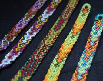 Set of 5 woven friendship bracelet for best friend. mint. lemon. violet. mustard. grenn. brown.