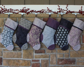 Purple Christmas Stocking w/ Custom Tag. Victorian Christmas. Best Christmas Stockings, Plush, Purple and Gray Personalized Downton Abbey