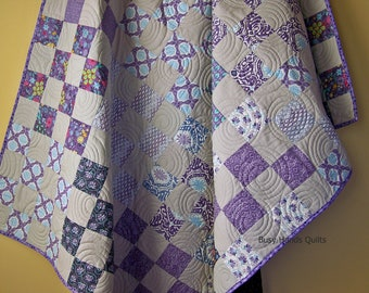 Modern Lap Quilt-Handmade Throw-Handmade Lap Quilt-Throw Quilt-Sofa Quilt-Gray and Purple-Patchwork Blanket-Quilts For Sale-Ready to Ship