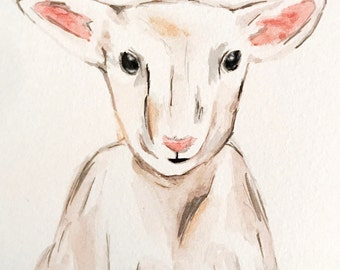 ORIGINAL lamb watercolor // nursery watercolor // watercolor animal // custom watercolor // baby gift