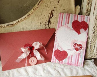 Valentines day card for friend embellished stitched card paper art Shabby Chic pink Valentine's Day gift Love Card hearts hostess gift