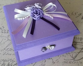 Lovely Lilac Keepsake Box, Trinket Box, Treasure Box, Memory Box, Jewellery Box, Wooden Box, Personalised Box