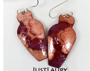 Glass Enamel over Copper Wedding Pot Dangle Earrings