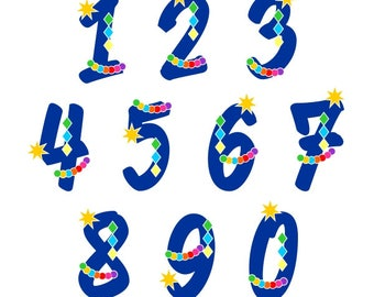 Mardi Gras Numbers Font Cuttable Design SVG PNG DXF & eps Designs Cameo File Silhouette