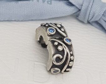 Authentic Pandora Charm Sterling Silver Blue CZs Tendril Clip 790380CZB Retired
