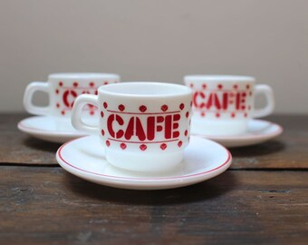Vintage French acropal coffee cups and saucers