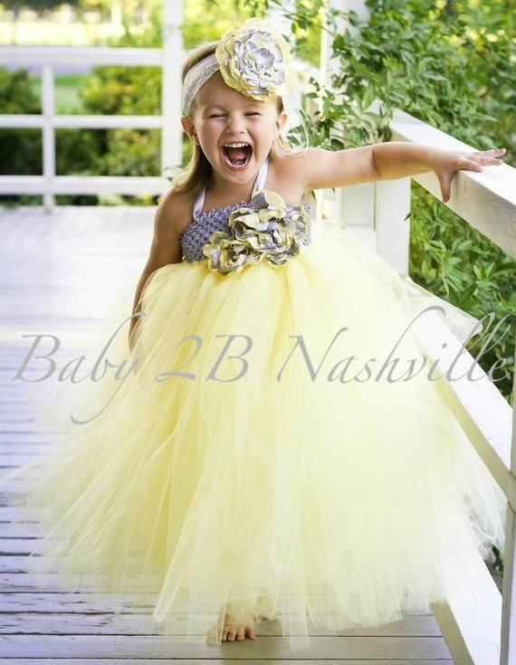 Wedding flower girl dress yellow flower girl tutu dress mightylinksfo