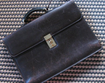"Vintage MARK CROSS Leather BRIEFCASE / Attache Case 16.5"" x 11.75"" Made in Italy 