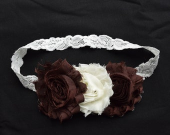 Soft and Elegant Brown and Cream Shabby Flower  Headband