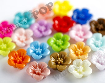 Mixed Colors Hibiscus Flower Resin Cabochons, Flower Shaped, 13 mm x 13 mm x 5 mm (R2-038)