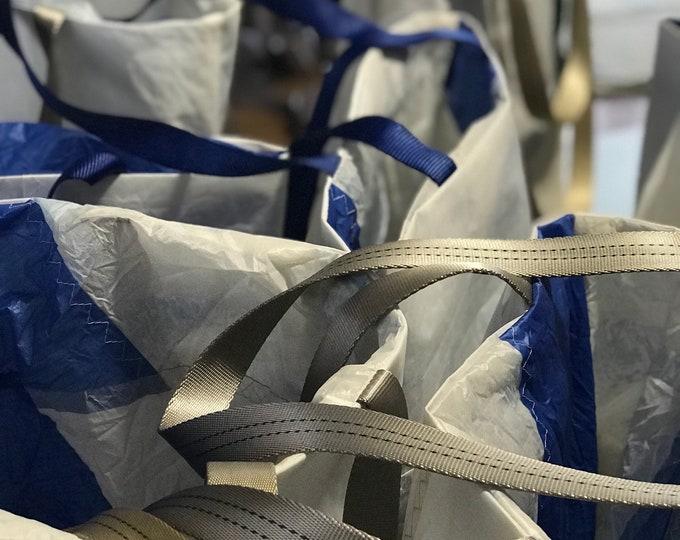 Sail Cloth Tote with 4 pockets, wine bag, beach bag, travel bag, grey webbing handle