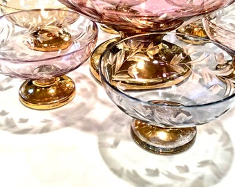 Exquisite Iridescent Cut to Clear Crystal Berry Bowl Set 7 pc. Multi-Color Set with Gold Base