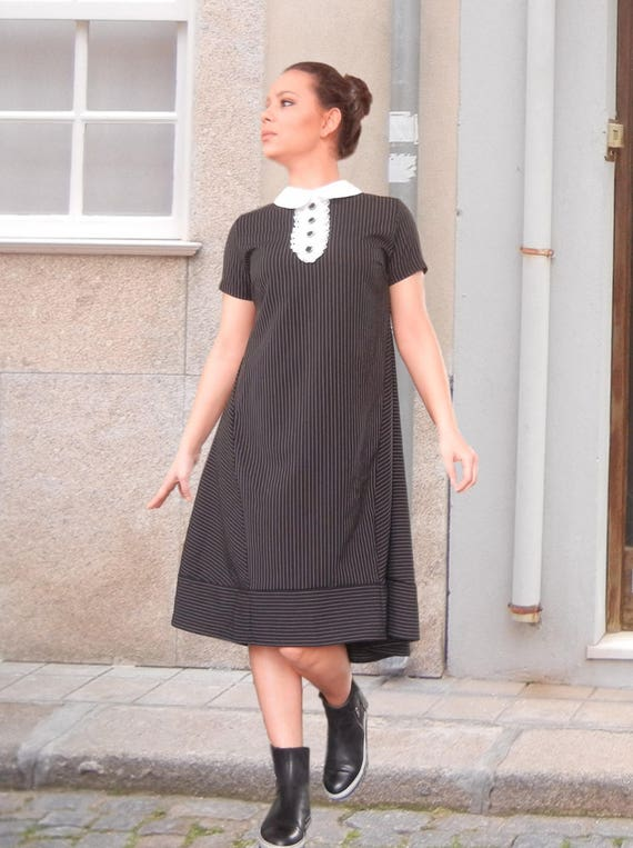 Flattering Maxi Loose Dress, Classy Elegant White Collar Dress, Oversized Black Dress, Stylish Wide Classic Party Dress, Clubwear