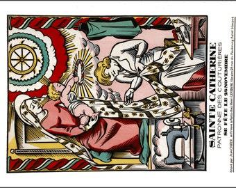 Vintage French poster print of Saint Catherine Patron Saint of Seamstresses