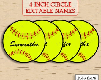 "4"" Softball Tags With Editable Names INSTANT DOWNLOAD DIY Pdf"