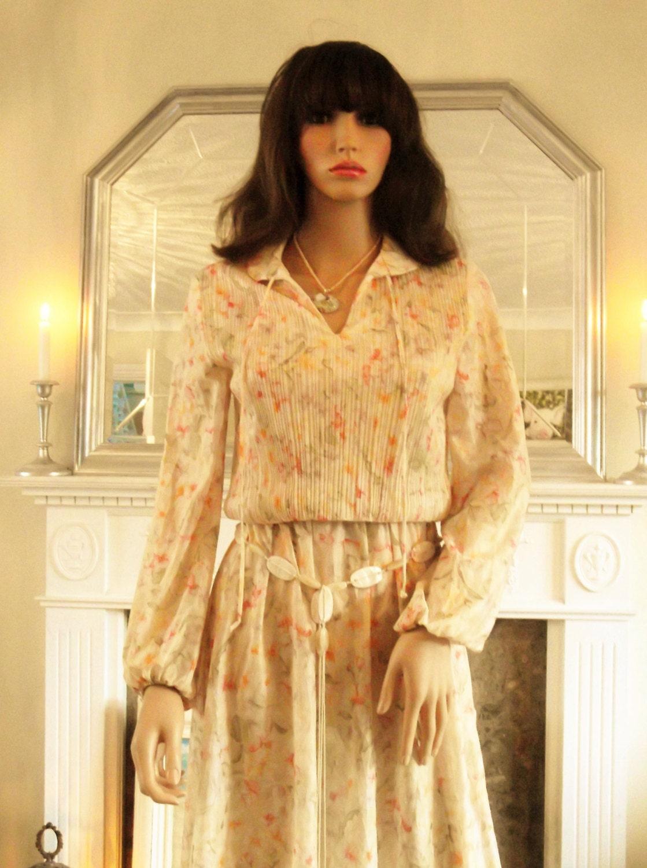 Vintage 70er Jahre Pfirsich geblümten Kleid schiere