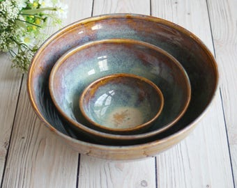 Rustic Nesting Set Handmade Ceramic Earthy Amber - Pottery Bowls Three Piece Stoneware Stacking Bowls